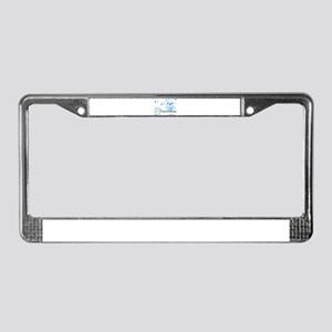 Blue Striped Winter Snow Owl License Plate Frame